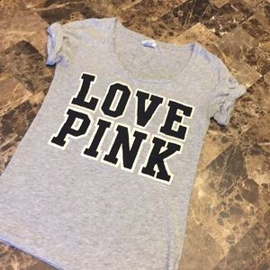 XS VS PINK Gray Cuffed TShirt Tee LOVE PINK